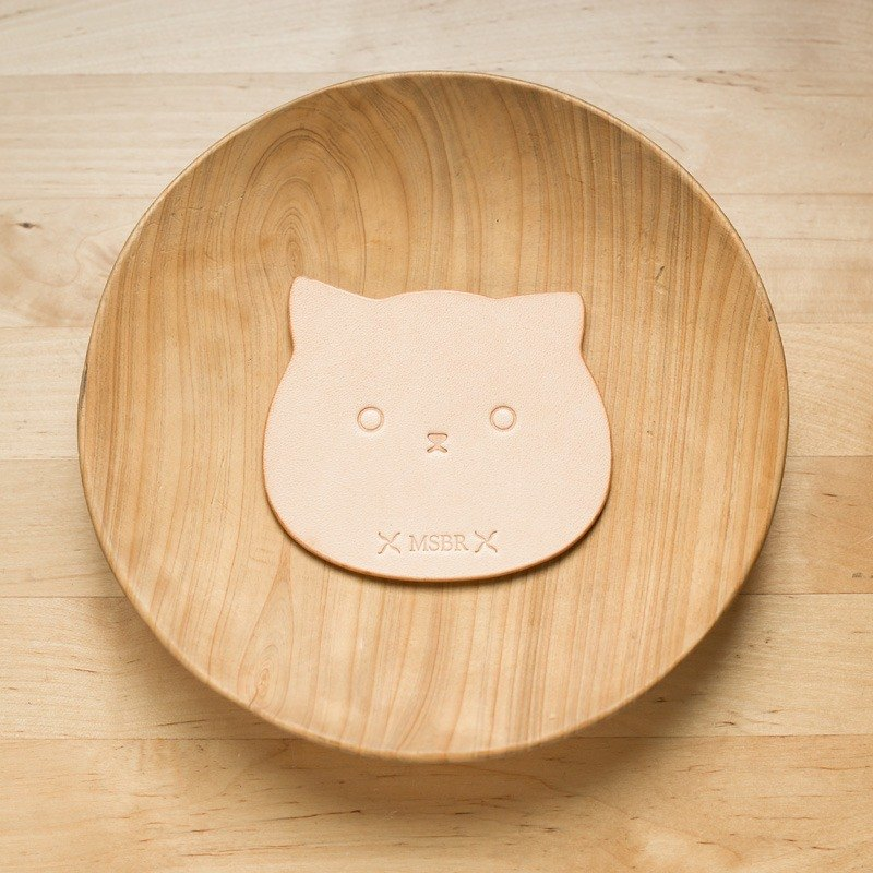 Animal series - primary color vegetable tanned leather coaster (cat)
