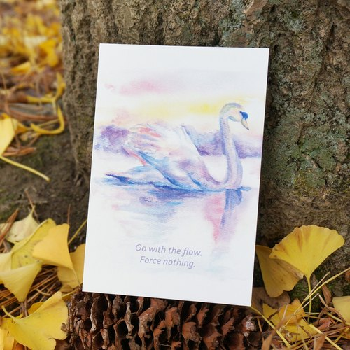 Lovely Animal watercolor postcard, Greeting card, Birthday card, print - Swan