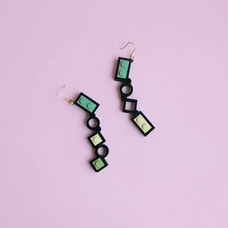 Lego Blocks Silver Earrings -  Black Gray Green