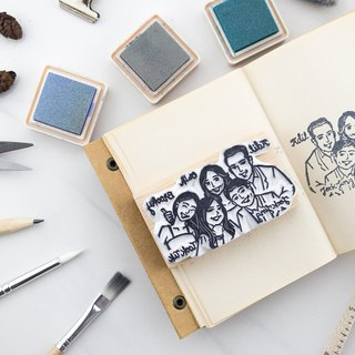 Group of 5 portrait rubber stamp (L)