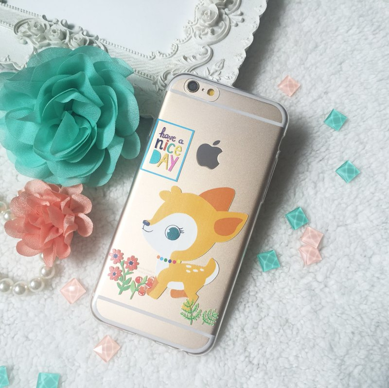 nice day Deer Clear Silicone Phone Case ipx ip8 Samsung S8 S7 Sony Z5 LG G6 V30
