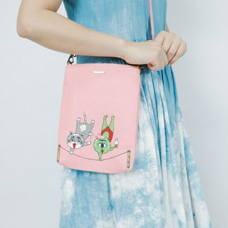 Embroidery Across-body Bag in Rectangle Shape - Circus Life