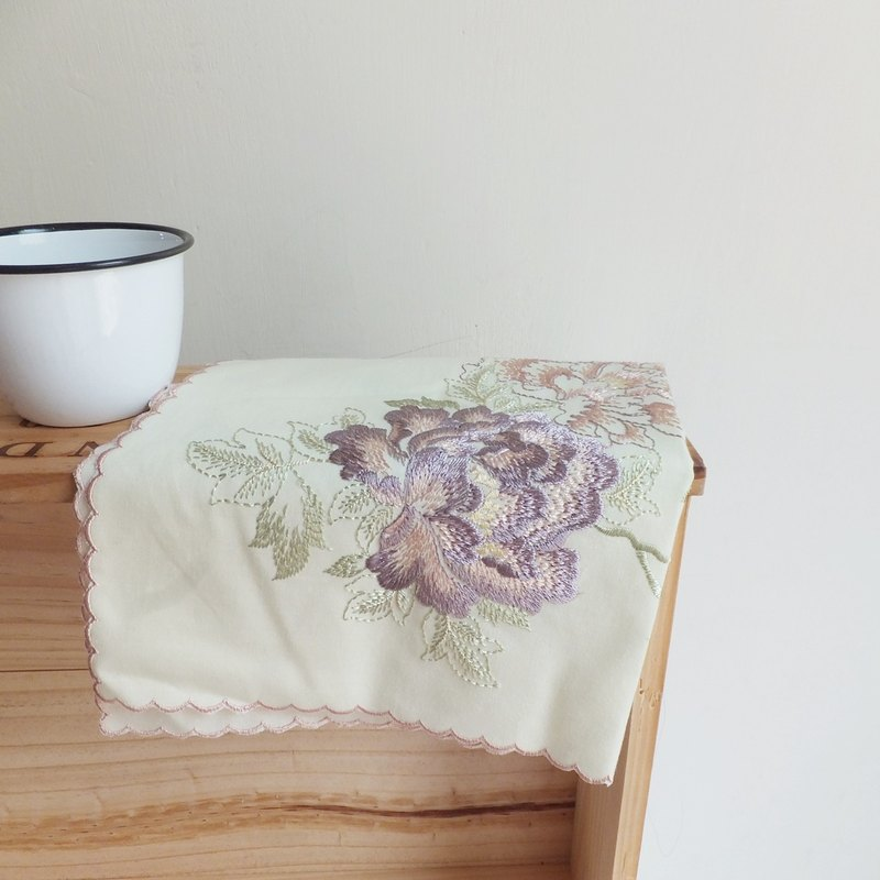Embroidery Towel ,  Table Centre Mat -Embroidered peonies