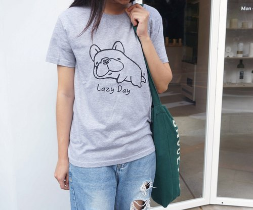 【 Lazy Bones 】-Fighting T-Shirt - Grey