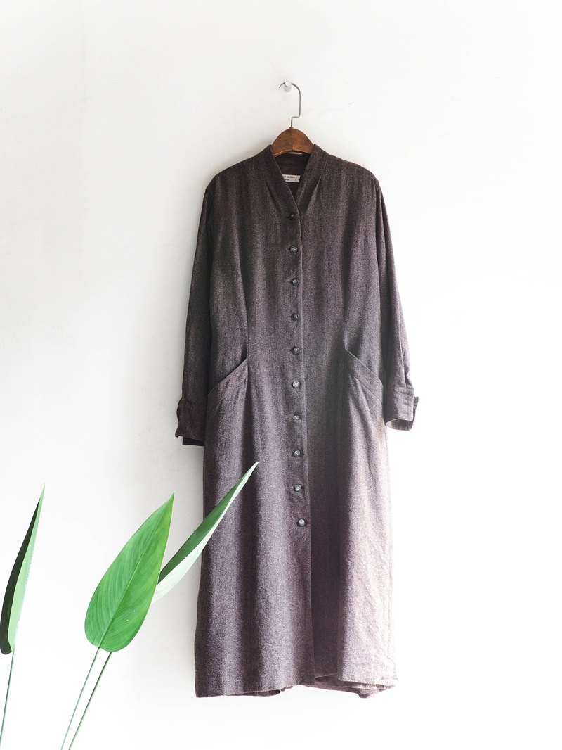 River Water Mountain - Osaka Deep Coffee Blend Umbrella Spring Party Antique One-piece Wool Long Dress