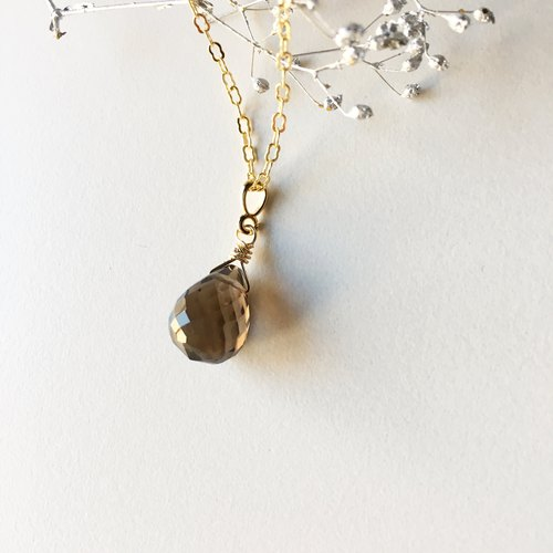 April birthstone 【large grain smoky quartz AAA】 briolette cut · necklace