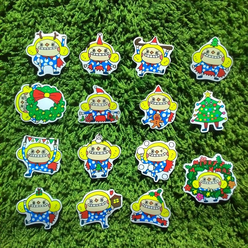 Big Nose Christmas flower sticker set - Merry Christmas (no shell)