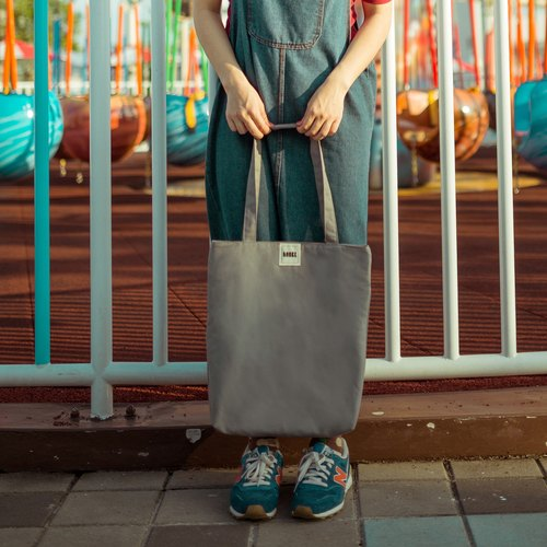 No prints simple shoulder canvas bag / gray