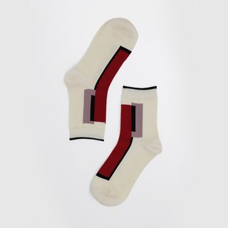 [Copy - Paste] OutOfOffice / Irregular Geometric Socks / Red White / Socks