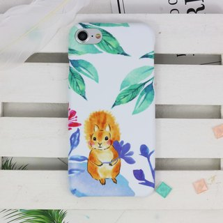 Watercolor Squirrel Matt rigid hard Phone Case iPhone X 8 8 plus Galaxy S8 + S7
