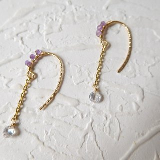 Package 14K hook amethyst zircon pendant earrings