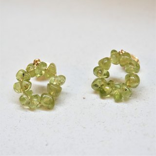 << Lucky Wreath - Peridot >> Natural Stone Earrings
