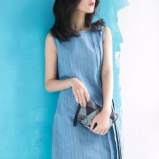 Bandage Denim Dress Denim Dress - Sky Blue