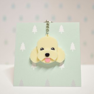Cream Poodle - Keyring - Pet Accessories - Pet Hanger - Hairy Kids - Gifts - Custom - Acrylic - BU