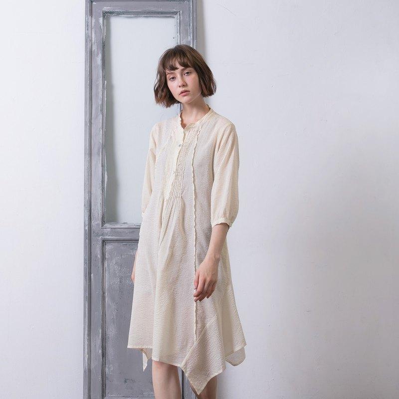 七分袖細褶洋裝 - 珍珠白