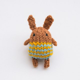 Fika the Bunny - knitted amigurumi brooch