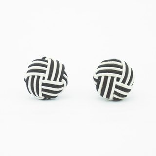 Circle dot Black and White Intertwined Stainless Steel Earrings Earrings Earrings 192