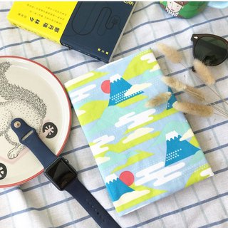 Japanese handmade book cover | book clothing - Mount Fuji / Qinghai wave