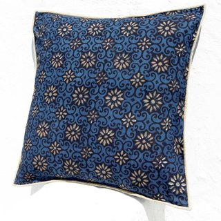 Christmas gift limited handmade woodcut printing pillowcase / cotton pillowcase / printing pillowcase / hand-printed pillowcase - indigo blue dye blue romantic flowers