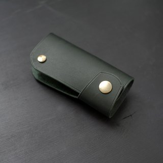 [Christmas limited offer] car key bag - dark green [Fried area carved leather]