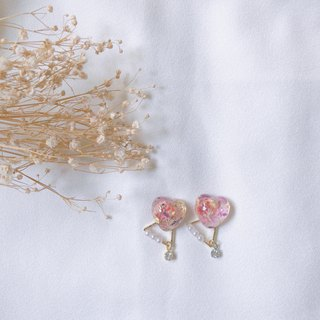 Mature ambience hand-made dry flower earring ear clip