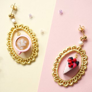 |Coffee & Cheesecake|  polymer clay 16k gold-plated earrings