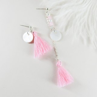 Pink sweet natural stone silver earrings │ pink unicorn natural stone 925 sterling silver Tibetan silver