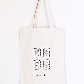 Four biscuits cats green cotton canvas bag