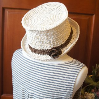 Hand-knitting ~ grass weaving summer green high-hat hat star pattern straw hat / style cap