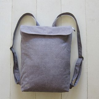 Canvas Backpack- A4 Size (Zipper Closure / External Zipper Pocket) - Dolphin Gray + Creamy-White