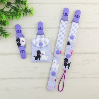 Elegant Poodle. (3) - safe bag + pacifier chain + handkerchief folder (safe bag can be added 40 embroidered name) (dog year baby)