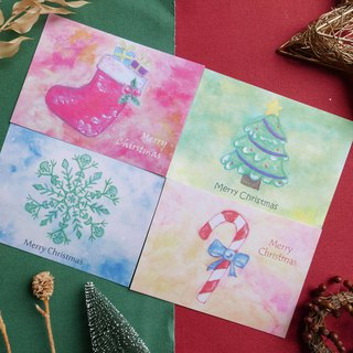 [Christmas Card Pack / 4 sheets] Christmas Card Postcard Gift Plain Envelope Christmas Gift Exchange Gift Summery Watercolor Hand Painted