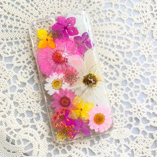 iPhone 7 Dry Pressed Flowers Case Pink Daisy Flower case 018