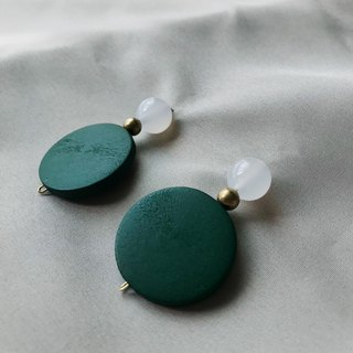 Natural stone round wood beads earrings
