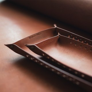Leather Tray: The Clyde East Leather Tray-L036 Small-genuine leather, kangaroo leather, xmas, gift, tray, unisex, chestnut,brown,personlized