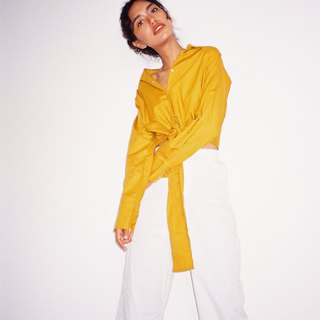 Tie Shirt Long sleeves (Mustard)