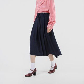 [Egg Plant Vintage] Fallen Silhouette Solid Color Pleated Skirt