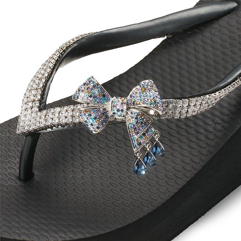 女款6cm厚底夾腳拖鞋-頂級首飾工藝水鑽-水滴蝶結 爵士黑