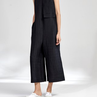 G果GAOGUO original design 18 early autumn black silk hemp loose v-neck wide leg pants nine points jumpsuit jumpsuit