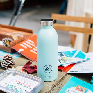 New 24Bottles - Clima Bottle Cloud Blue (500ml) - Stainless Steel Insulated Water Bottle - 24 hours for ice protection and 12 hours for insulation