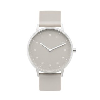 BIJOUONE B40 SILVER WATCH ON RUBBER STRAP, BEIGE