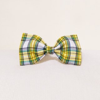 Ella Wang Design Bowtie Pet Bow Tie Bow Cat Dog Yellow Plaid Gentleman