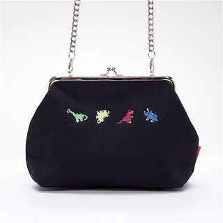 Dinosaur Cross Body Waterproof Canvas Clutch / Black