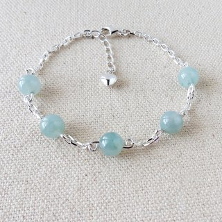 Sterling Silver******Fashion[Lucky Heart]Floating Ice Hibiscus Blooming Jade Bracelet****[Lucky]