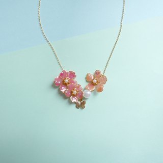 Aramore pink pink orange copper flower with small butterfly necklace