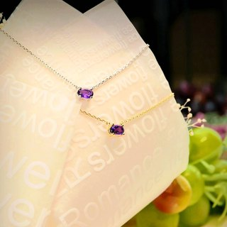 [Lalune] romantic and mysterious amethyst 925 sterling silver yellow K color necklace