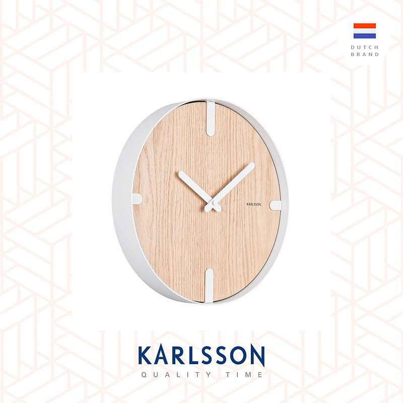 荷蘭Karlsson, Wall clock Dashed oak wood white 胡桃木面掛鐘