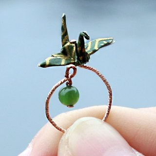 Mini cranes Crystal Ring (Green Lake) - Valentine's Day gift