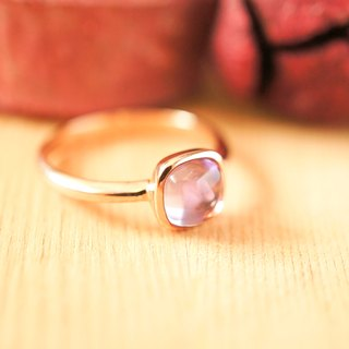 6mm Cushion Cabochon Amethyst 18K Rose Gold Plated Silver Rings