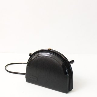 Vintage leather elegant black back shoulder shell 70s European antique bag European Vintage Bag